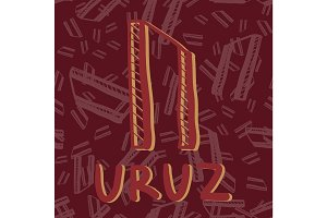 Uruz. Hand drawn ancient rune. Vector illustration