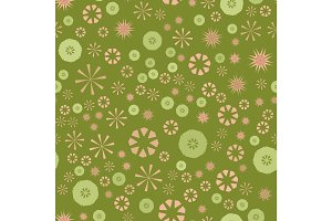 Abstract green simple seamless pattern for design. Vector background with geometric stars and flowers. Circular colorful texture for textile, warping paper, childs clothes