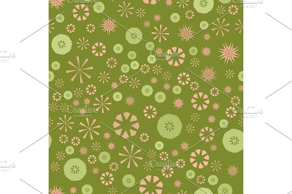 Abstract Green Simple Seamless Pattern For Design Vector Background With Geometric Stars And Flowers Circular Colorful Texture For Textile Warping Paper Childs Clothes