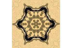 Oriental ornamental pattern in brown color. Vector decorative background with stylized floral geometric ornament. Repeating geometric tiles based on indian mandala.Tibetian or Indian motive.