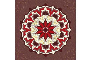 Red and brown color mandala ornament.Decorative ornamental colouring anti-stress therapy pattern.Fabric design.Yoga inspired backgrounds meditation wall poster. Unusual stylized flower