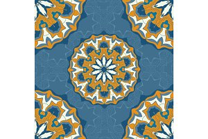 Blue and brown color mandala ornament seamless background.Decorative ornamental colouring anti-stress therapy pattern.Fabric design.Yoga inspired backgrounds meditation poster. Unusual stylized flower