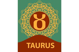 Taurus. Zodiac icon with mandala print. Vector illustration.
