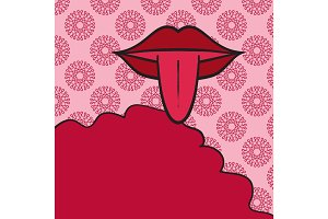 Retro Print Women mouth open with tongue Out on pink background and place for text