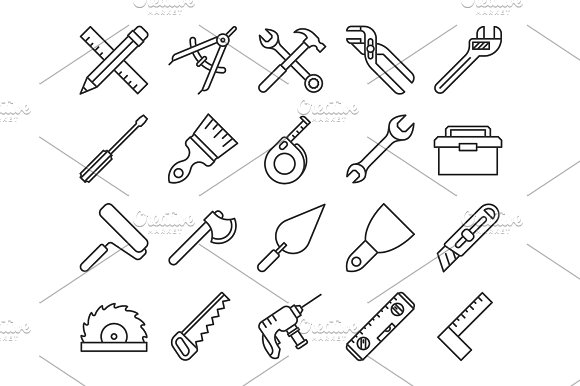 Mechanical Tools Line Vector Icons