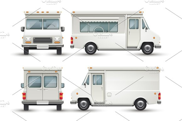 White Blank Food Car Commercial Truck Isolated