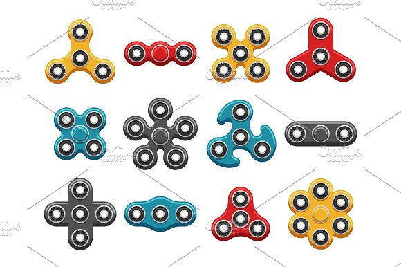 Hand Spinner Toys Flat Vector Icons