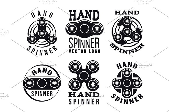 Hand Spinner Vector Logo And Labels Fidget Spinners Emblems