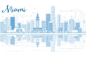 Outline Miami Skyline