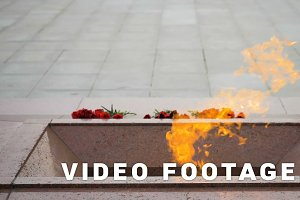 Eternal flame on the Victory Square in Minsk, Belarus - slowmotion 180 fps