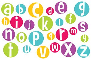Vector Crazy Bright Digital Alphabet