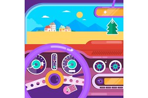 Travel by car. Summer Travel Car Concept. Flat vector illustration