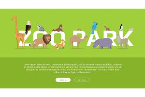 Zoo Park Banner. Website Template