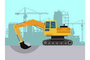 Ground Works on Construction Flat Vector Concept