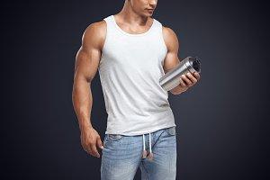 Fitness mockups with shake bottle