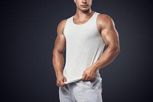 Bodybuilder wearing blank t-shirt