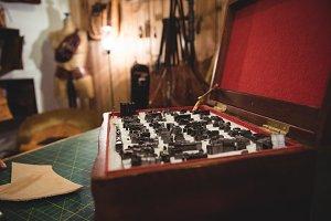 Tool box on table
