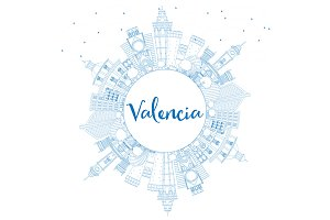 Outline Valencia Skyline
