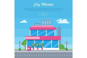 City Market Near Road Banner. Flat Design Style