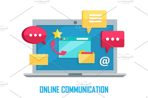 Laptop With Chat Web Conversation Signs Isolated