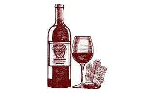 Wine Hand Draw Sketch. Vector