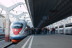 High speed train Sapsan departs from