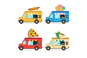 Street Fast Food Truck Set. Vector