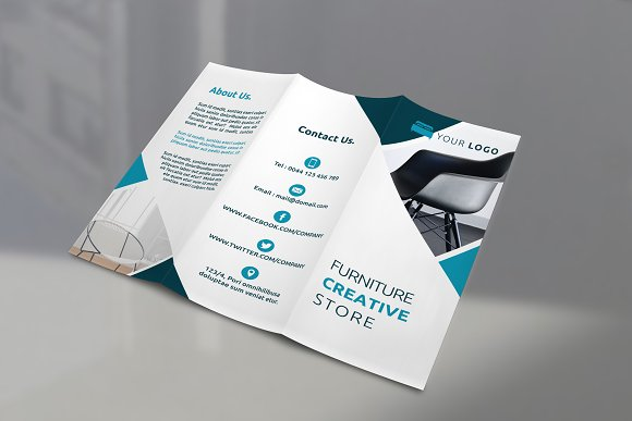 Furniture Tri-fold Brochures ~ Brochure Templates ~ Creative Market
