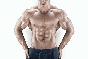 Male bodybuilder with great physique