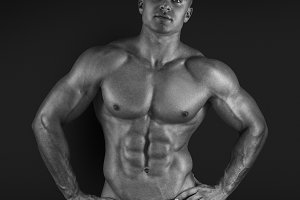Male bodybuilder posing