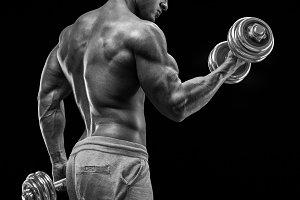 Male bodybuilder in training