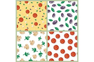 Seamless Pattern with Tomatoes, Olives, Mushrooms