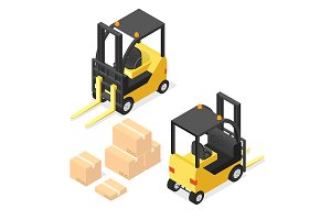 Lift Truck and Cardboard Boxes