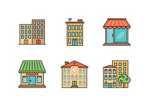 Minimal lineart buildings iconset