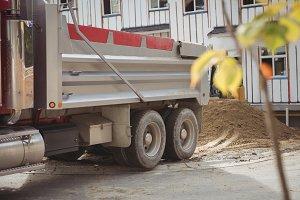 Dumper unloading mud