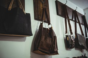 Various leather accessories hanging