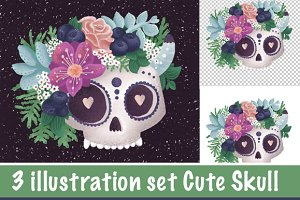 Cute Skull illustration PSD PNG JPG