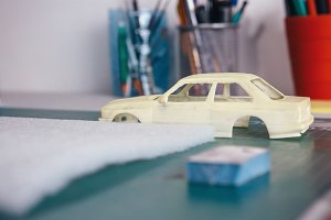 Handcrafted slot car on table