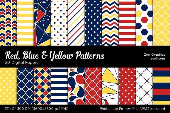 Red Blue Yellow Digital Papers