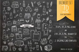 70 Brewery hand drawn elements!