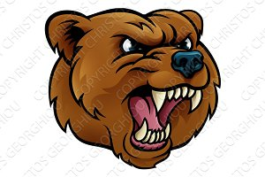 Grizzly Bear Sports Mascot Angry Face