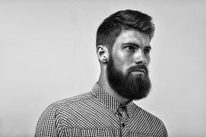 Brutal bearded  man portrait