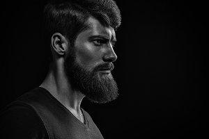 Bearded man black and white portrait