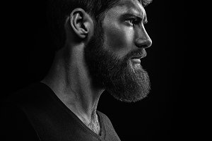 Bearded man looking forward portrait