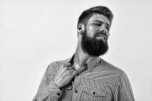 Emotional bearded man portrait