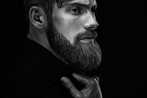 Bearded man looking forward