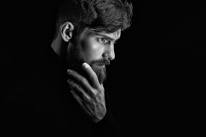 Attractive bearded man portrait