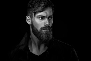 Handsome bearded man portrait