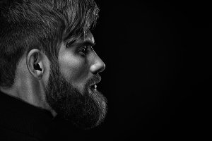 Serious bearded man portrait
