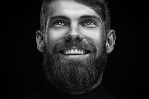 Laughing bearded man portrait